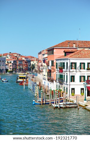 View on Grand Canal from Ponte degli Scalzi ( bridge of the barefoot monks ) in Venice, Italy - stock photo
