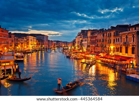 View on Grand Canal from Rialto bridge at dusk, Venice, Italy