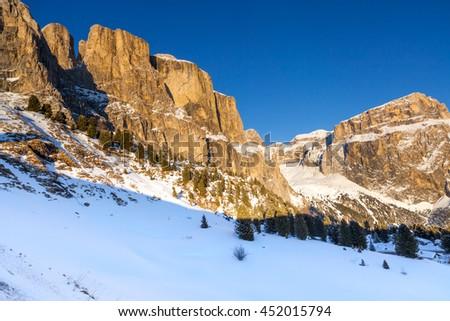 View on Gruppo del Sella, Val di Fassa, Dolomites mountains, Italy - stock photo