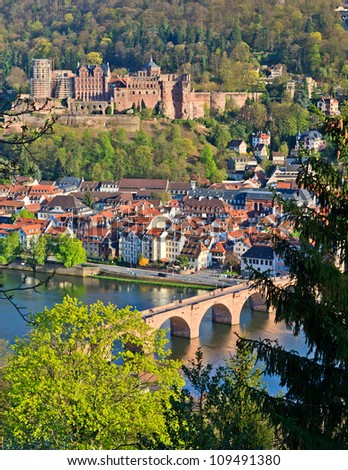View on Heidelberg at spring, Germany - stock photo