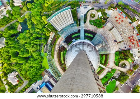 View on hight point of Oriental Pearl Tower. Glass floor.  Tower 470 meter the Oriental Pearl is one of Shanghai's tallest buildings. - stock photo