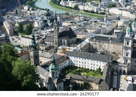 View on historical center of Salzburg from the top (Salzburg, Austria)