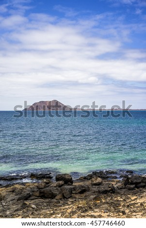 View on isla de lobos, Lobos island, from Beach in Corralejo, Fuerteventura, Canary