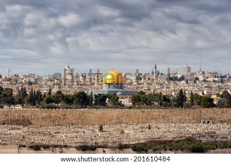 View on Jerusalem with the Dome of the Rock from the Mount of Olives. - stock photo