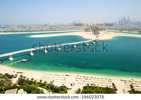 View on Jumeirah Palm man-made island, Dubai, UAE - stock photo