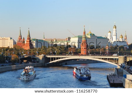 View on Kremlin and Moscow-river with boats. - stock photo