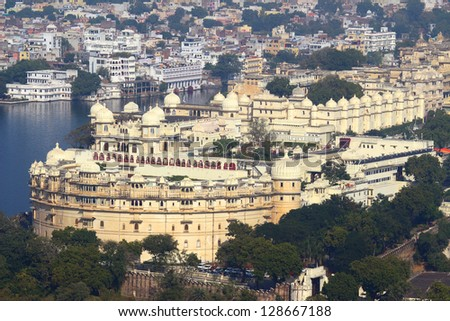 view on lake and palace in Udaipur India - stock photo