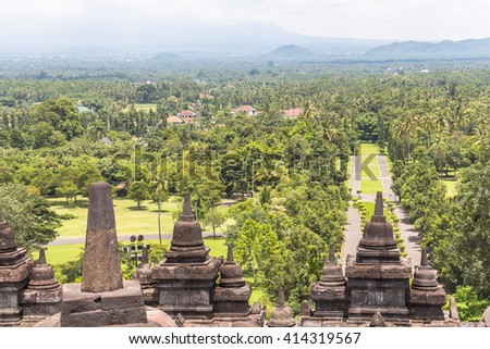 View on landscape from Borobudur temple