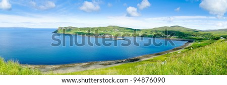 View on Loch Snizort with the harbour of Idrigill and Uig, Isle of Skye, Scotland - stock photo
