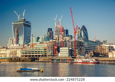 View on London City from Thames - stock photo