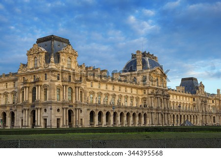 View on Louvre museum in Paris, France - stock photo