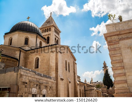 View on Lutheran Church of the Redeemer in Jerusalem - stock photo