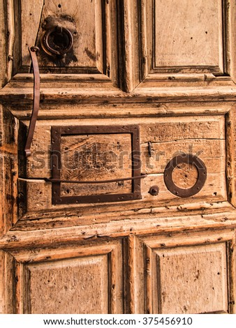 View on main entrance in at the Church of the Holy Sepulchre in Old City of Jerusalem, Israel - stock photo