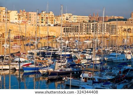 View on Malta bay between Kalkara and Birgu with yachts at  morning time - stock photo