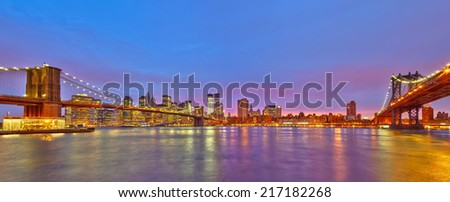 View on Manhattan from Brooklyn, New York City - stock photo