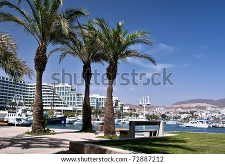 View on marina and resort hotels in Eilat city, Israel - stock photo