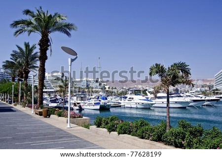 View on marina docked yacht in Eilat - famous resort city in Israel