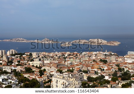 view on Marseille from mountian in city where is a church Notre - stock photo
