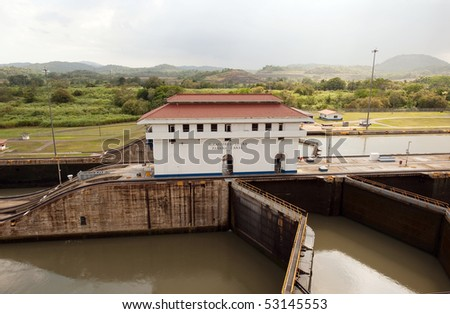 View on Miraflores locks in Panama canal - stock photo
