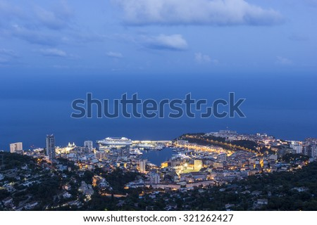 View on Monte Carlo's harbor in Monaco in the evening
