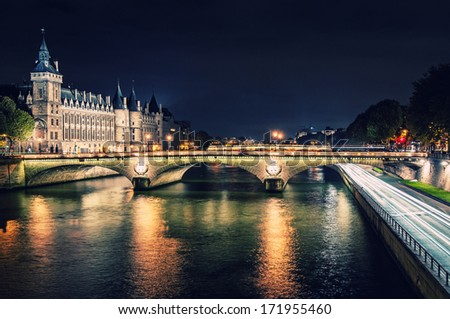 view on monuments of Paris by night