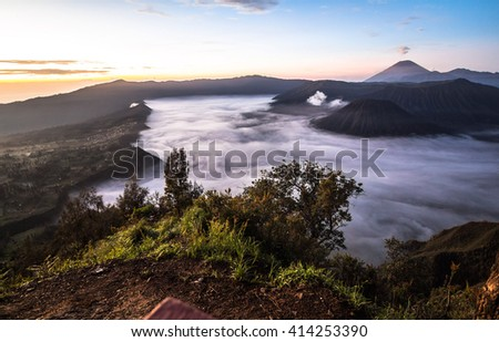 View on Mount bromo area before sunrise