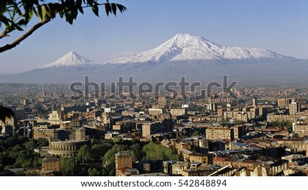 View On Mountain Ararat of Yerevan city,Transcaucasia,Armenia.