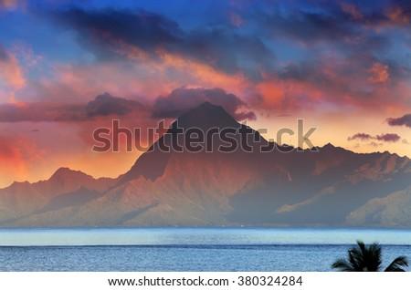 View on mountain Orohena at sunset. Polynesia. Tahiti. - stock photo