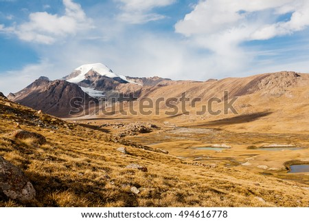 View on mountain peaks, Tien Shan, central asia, Kyrgyzstan. Travel concept bacvkground.