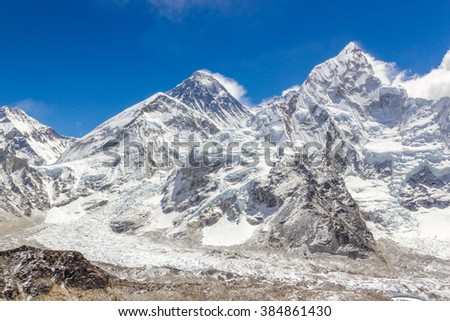 View on mountains range with Everest on a background in Himalayas, Nepal