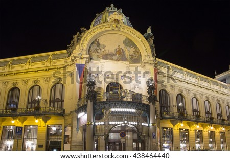 View on Municipal House (1912) in art nouveau style -- is a major landmark and concert hall in Prague, Czech Republic  - stock photo