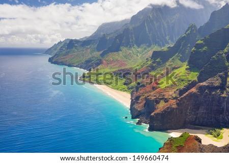 View on Na Pali Cost on Kauai island on Hawaii - stock photo