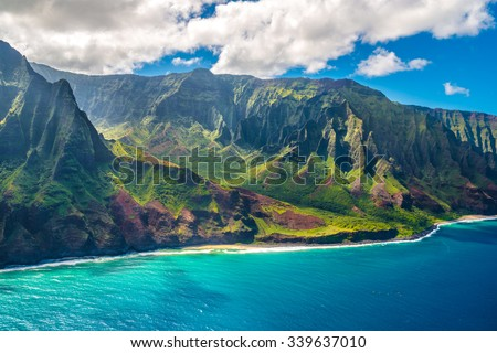 View on Napali Coast on Kauai island on Hawaii - stock photo