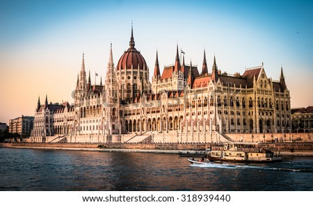 view on National Hungarian Parliament and Danube in Budapest - stock photo