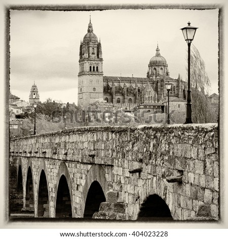 View on New Cathedral in Salamanca, Spain - stock photo