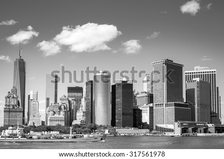 View on NewYork Downtown Skyline for the Hudson River on a Sunny Day in Black and White - stock photo
