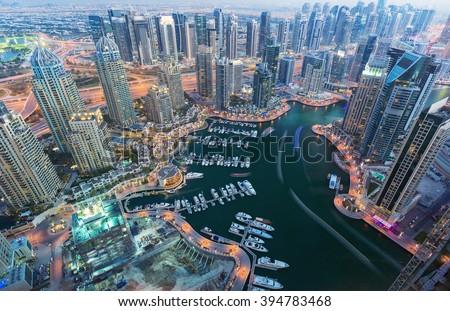 View on night highlighted luxury Dubai Marina,Dubai,United Arab Emirates - stock photo
