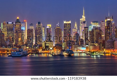 View on night Manhattan, New York - stock photo