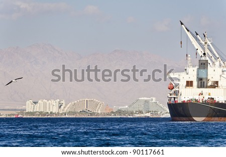 View on northern beach and marine port of Eilat – famous resort town in Israel - stock photo