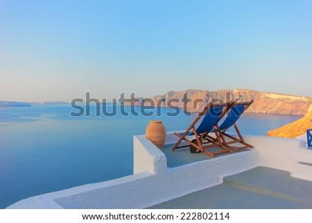 View on Oia in Santorini Greece - stock photo