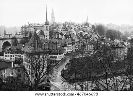 View on Old City of Bern in the rain, Switzerland.  Black and white