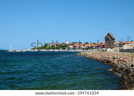 View on old city of Nessebar, Bulgaria - stock photo