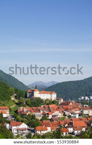 View on old medieval Slovenian town Skofja Loka on sunny day. - stock photo