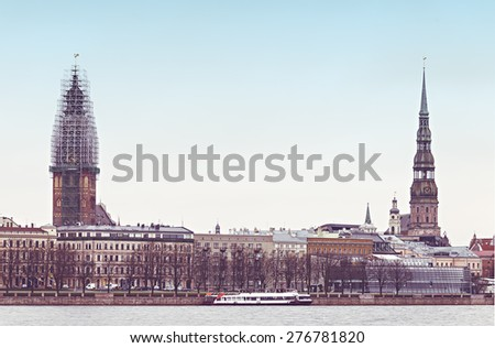 View on old Riga city (the capital of Latvia) from embankment of the Daugava river