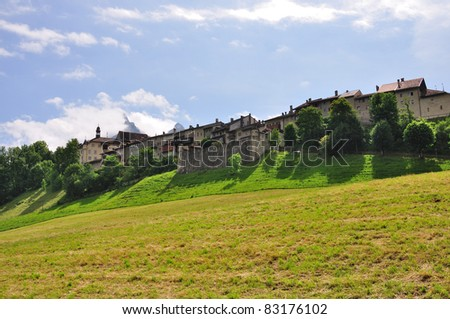 View on old town of Gruyeres, Switzerland