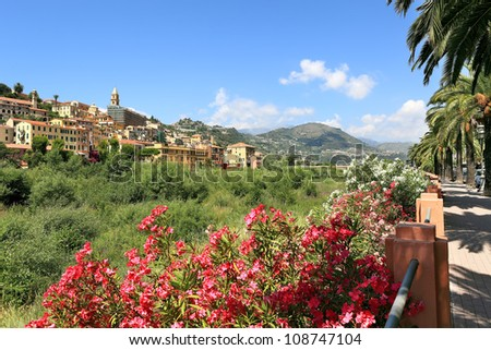View on old town of Ventimiglia in Liguria, Italy.