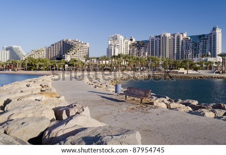 View on on the northern beach and resort hotels in Eilat, Israel