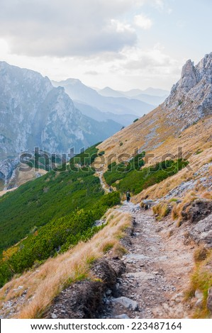 View on one of the high mountain trails - stock photo