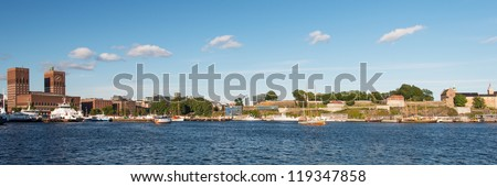 View on Oslo Fjord harbor, City Hall and Akershus Fortress, Oslo, Norway - stock photo