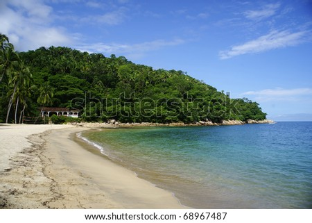 View on Pacific beach of Mexico near Puerto Vallarta - stock photo